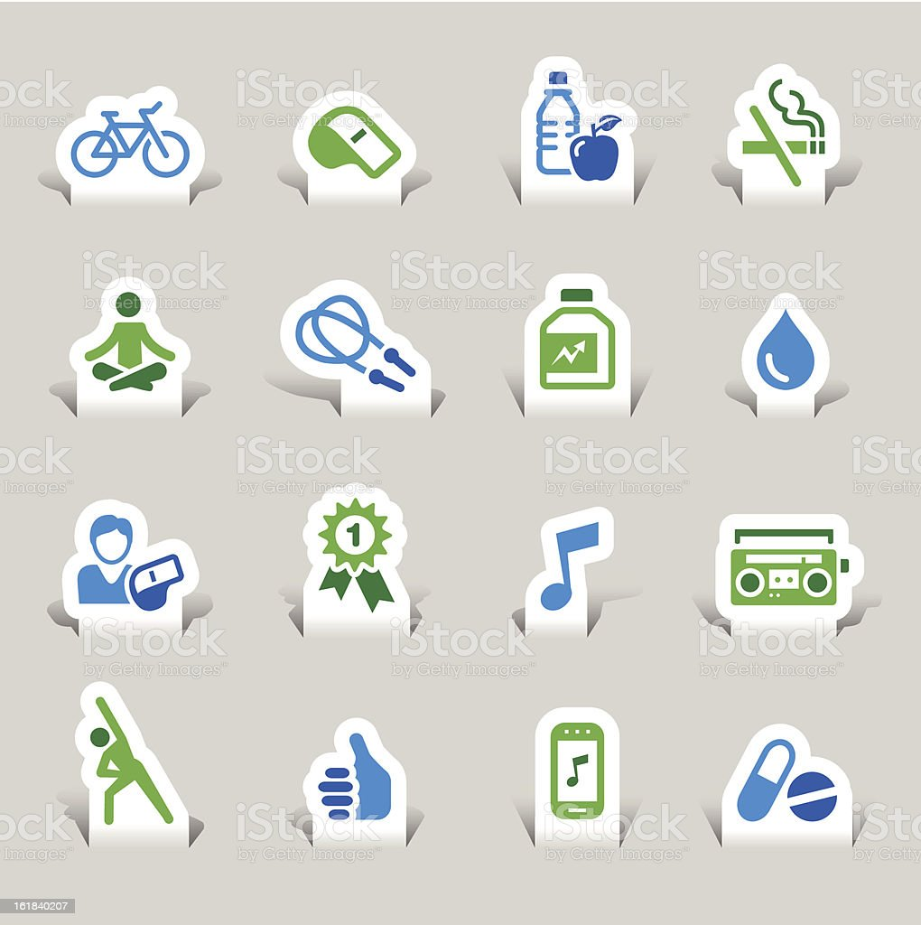 Paper Cut - Health and Fitness icons royalty-free paper cut health and fitness icons stock vector art & more images of aerobics
