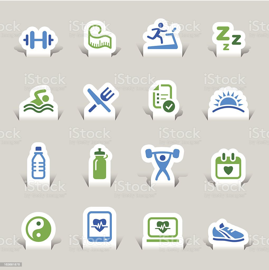 Paper Cut - Health and Fitness icons royalty-free stock vector art