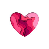 Paper cut heart shape 3D design.  Template for Valentines day and greeting card backgrounds. Colorful vector illustration.