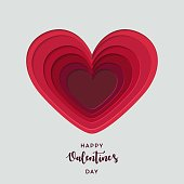 Paper art cut heart. Happy Valentine's Day. Template for Valentines day and greeting card. Origami concept. For web and print, wallpaper, cards, flyers, invitation, posters, brochure, banners.