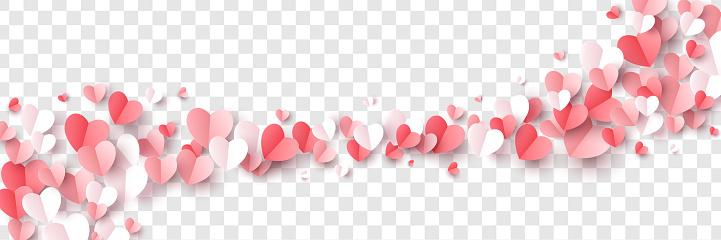 Paper cut hearts border