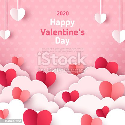 istock Paper cut hearts with white clouds 1198092463