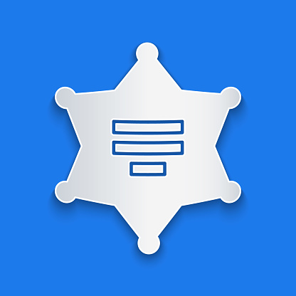 Paper cut Hexagram sheriff icon isolated on blue background. Police badge icon. Paper art style. Vector Illustration