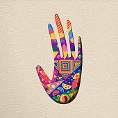 Paper cut human hand art concept illustration