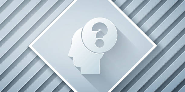 Paper cut Human head with question mark icon isolated on grey background. Paper art style. Vector Illustration Paper cut Human head with question mark icon isolated on grey background. Paper art style. Vector Illustration one man only stock illustrations