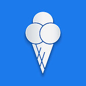 Paper cut Ice cream in waffle cone icon isolated on blue background. Sweet symbol. Paper art style. Vector Illustration