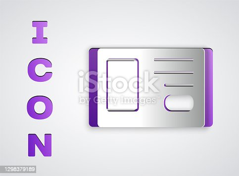 istock Paper cut Identification badge icon isolated on grey background. It can be used for presentation, identity of the company, advertising. Paper art style. Vector 1298379189