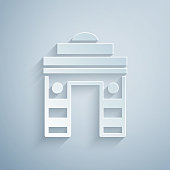 istock Paper cut India Gate in New Delhi, India icon isolated on grey background. Gate way of India Mumbai. Paper art style. Vector 1277589439