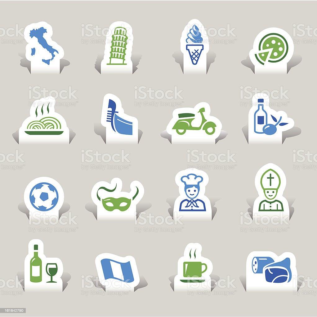 Paper Cut - Italian Icons royalty-free stock vector art