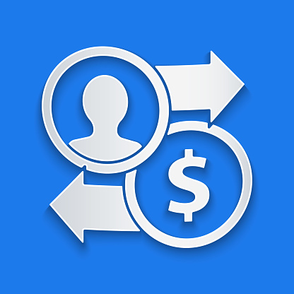 Paper cut Job promotion exchange money icon isolated on blue background. Success, achievement, motivation business symbol, growth. Paper art style. Vector Illustration
