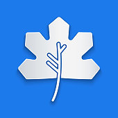 Paper cut Leaf icon isolated on blue background. Leaves sign. Fresh natural product symbol. Paper art style. Vector Illustration