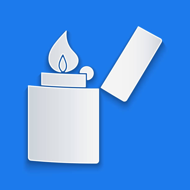 Paper cut Lighter icon isolated on blue background. Paper art style. Vector Illustration Paper cut Lighter icon isolated on blue background. Paper art style. Vector Illustration hot pockets stock illustrations