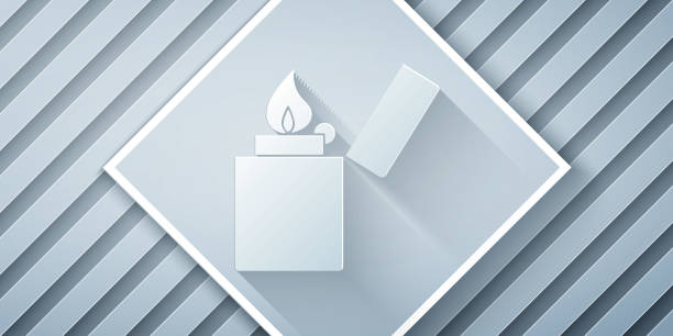 Paper cut Lighter icon isolated on grey background. Paper art style. Vector Illustration Paper cut Lighter icon isolated on grey background. Paper art style. Vector Illustration hot pockets stock illustrations