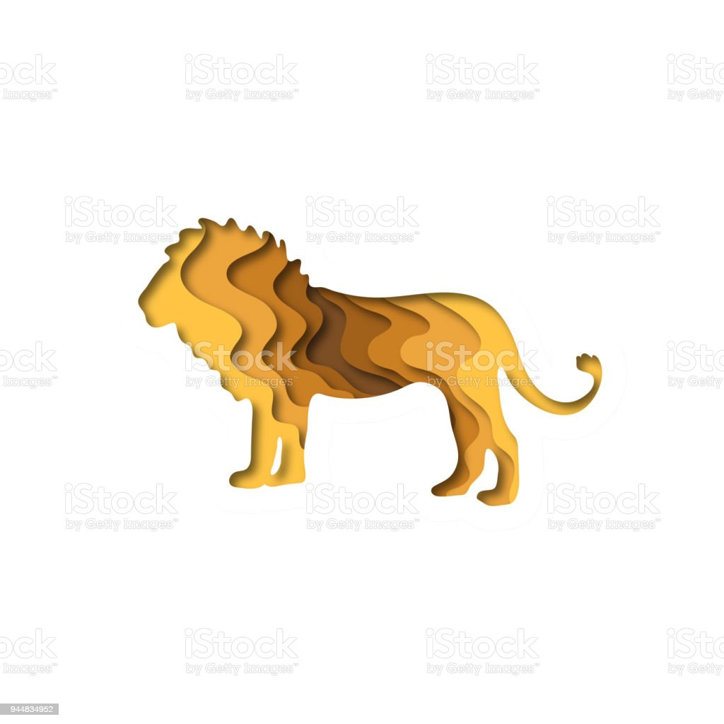 Paper Cut Lion Safari Animals Shape 3D Origami Trendy Concept Fashion Design Vector