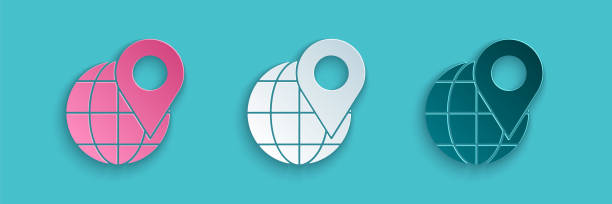 ilustrações de stock, clip art, desenhos animados e ícones de paper cut location on the globe icon isolated on blue background. world or earth sign. paper art style. vector illustration - europe points