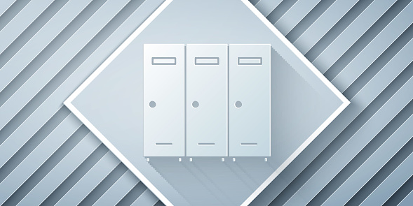 Paper cut Locker or changing room for hockey, football, basketball team or workers icon isolated on grey background. Paper art style. Vector Illustration
