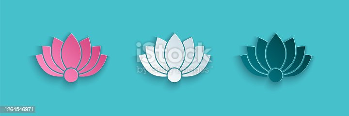 istock Paper cut Lotus flower icon isolated on blue background. Paper art style. Vector Illustration 1264546971