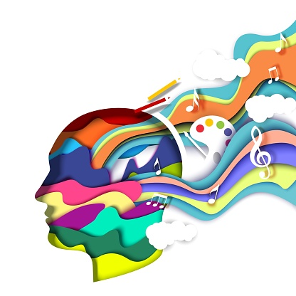 Paper cut man head with abstract vibrant shapes, vector illustration. Creative mind, art, thinking. Creative artist logo