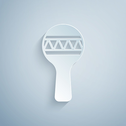 Paper cut Maracas icon isolated on grey background. Music maracas instrument mexico. Paper art style. Vector