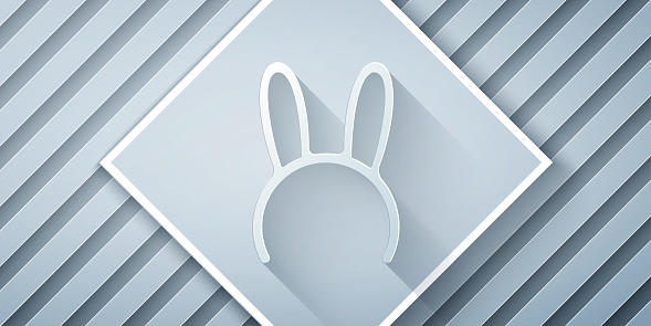 Paper cut Mask with long bunny ears icon isolated on grey background. Paper art style. Vector Illustration