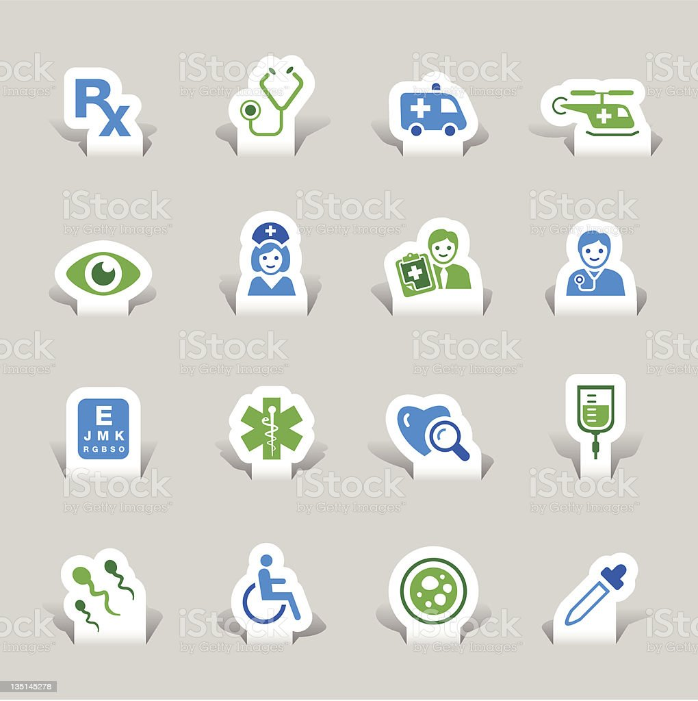 Paper cut - Medical icons royalty-free paper cut medical icons stock vector art & more images of ambulance