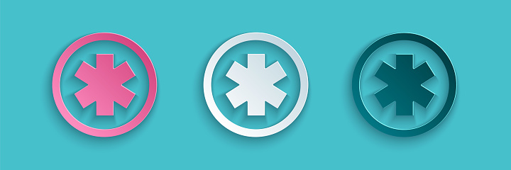 Paper cut Medical symbol of the Emergency - Star of Life icon isolated on blue background. Paper art style. Vector Illustration