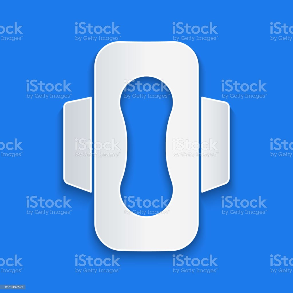 Paper Cut Menstruation And Sanitary Napkin Icon Isolated On Blue Background Feminine Hygiene Product Paper Art Style Vector Stock Illustration Download Image Now Istock