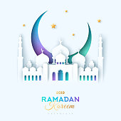 Ramadan Kareem greeting card with paper cut sultan mosque and crescent on white background. Vector illustration.