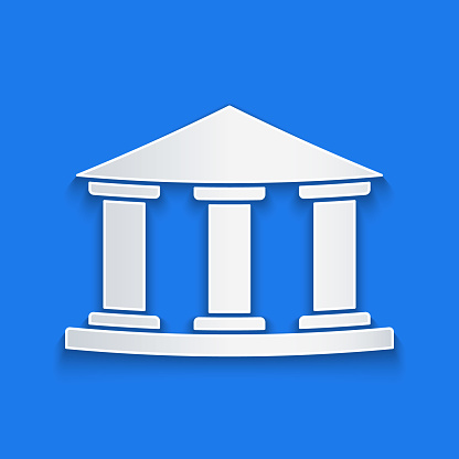 Paper cut Museum building icon isolated on blue background. Paper art style. Vector Illustration