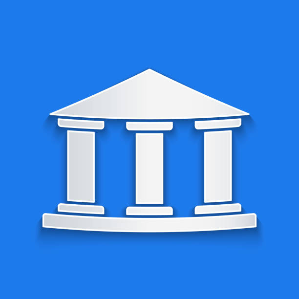 Paper cut Museum building icon isolated on blue background. Paper art style. Vector Illustration Paper cut Museum building icon isolated on blue background. Paper art style. Vector Illustration architecture clipart stock illustrations