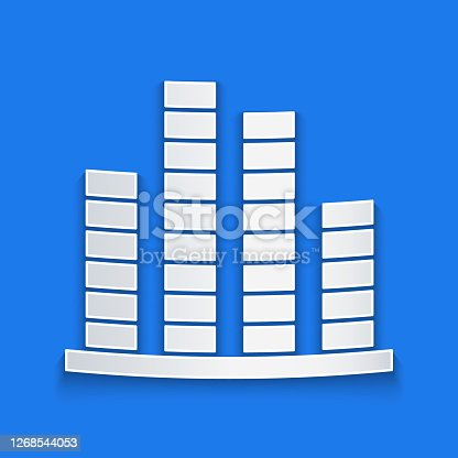 Paper cut Music equalizer icon isolated on blue background. Sound wave. Audio digital equalizer technology, console panel, pulse musical. Paper art style. Vector Illustration