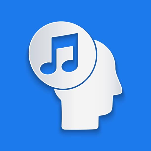 stockillustraties, clipart, cartoons en iconen met papier gesneden muzikale nota in menselijk hoofdpictogram dat op blauwe achtergrond wordt geïsoleerd. papieren kunststijl. vectorillustratie - alleen één meisje