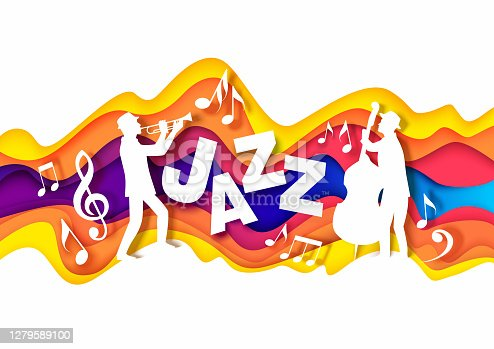 istock Paper cut musicians silhouettes playing trumpet and double bass, music notes. Vector illustration in paper art style. 1279589100