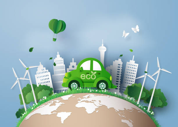 paper cut of eco concept. Eco-friendly car in the city. paper art and digital craft style. alternative fuel vehicle stock illustrations
