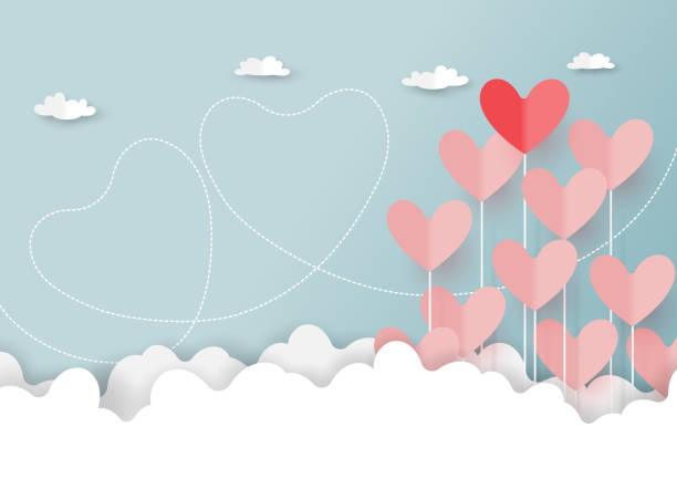 Paper cut of hearts on cloud and blue sky Paper art style of valentine's day greeting card and love concept.Origami floating hearts from clouds on blue sky background.Vector illustration. valentine card stock illustrations