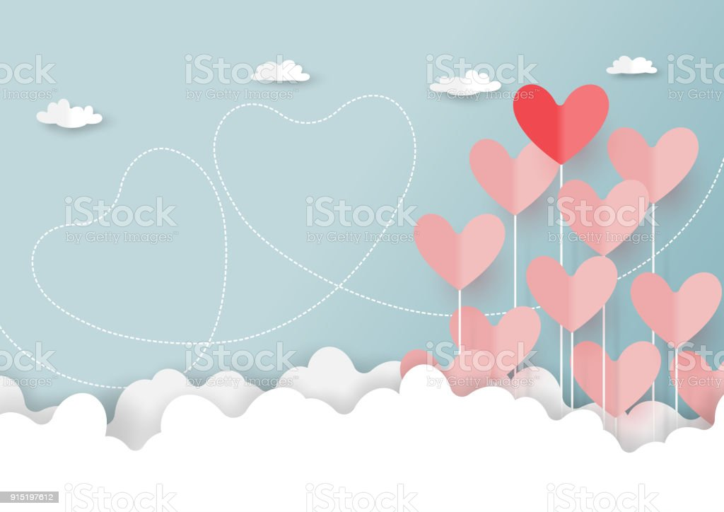 Paper cut of hearts on cloud and blue sky vector art illustration