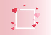 istock Paper cut of hearts with white frame. Copy space for text. Happy valentine's day concept. Vector illustration 1294850304