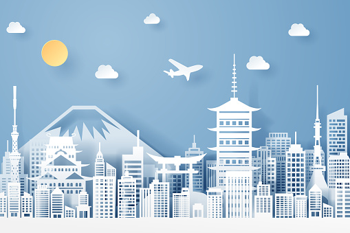 paper cut of Japan landmark, travel and tourism concept