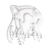 Paper cut of white little cottage and deer in the wild on winter season landscape and merry christmas background vector illustration.