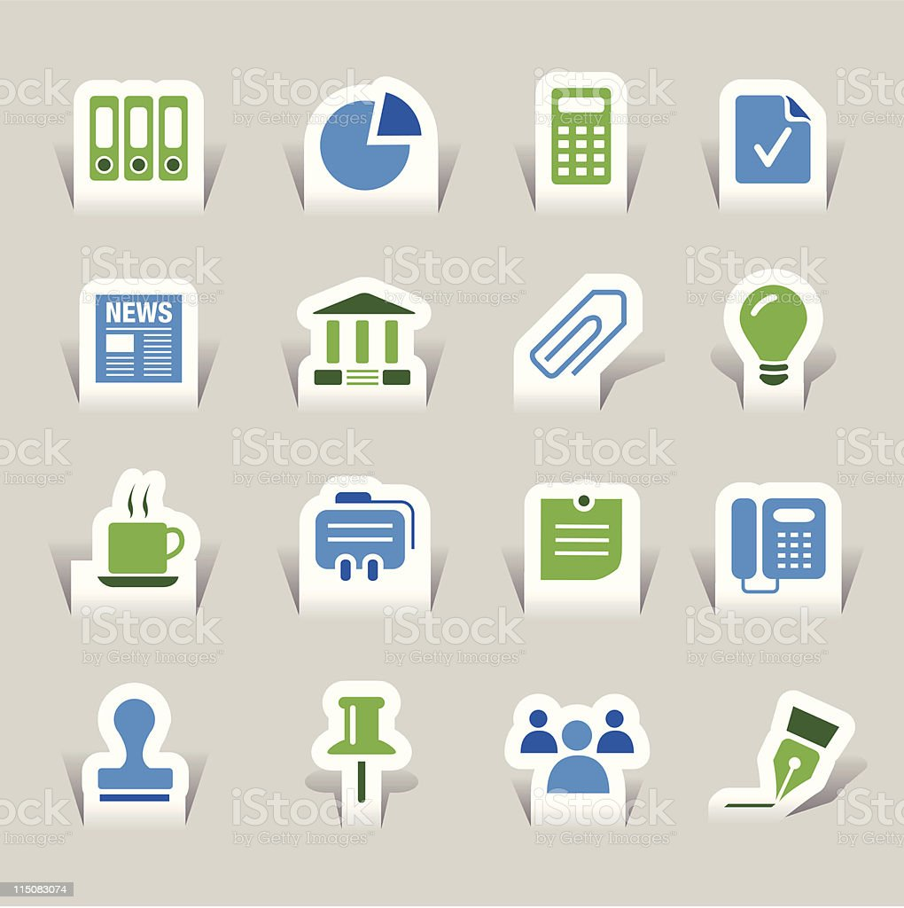 Paper Cut - Office and Business icons 02 royalty-free stock vector art