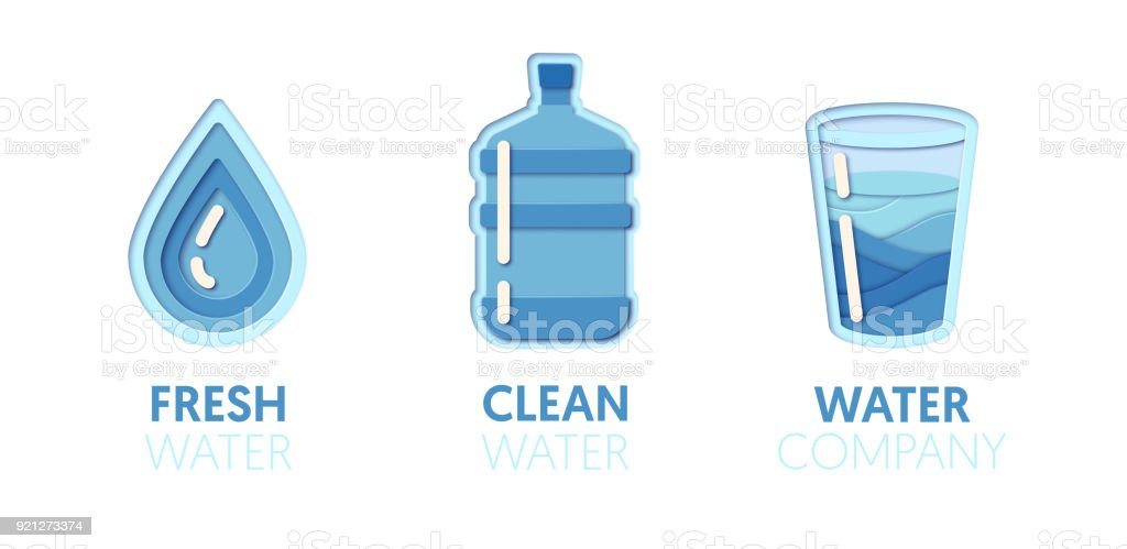 Paper Cut Out Icon Template Set With Clean Water Origami Healthy