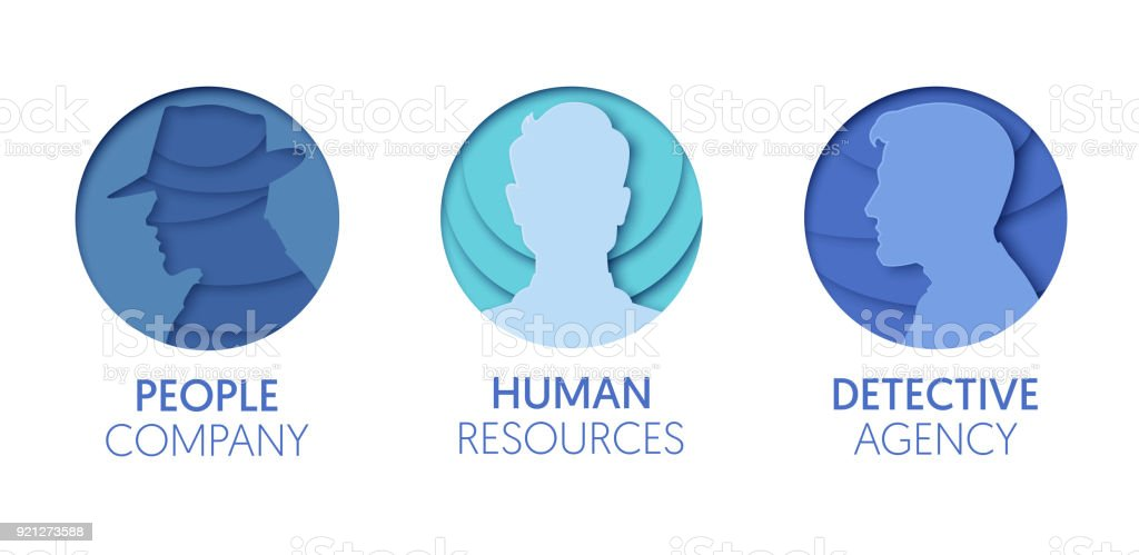 Paper Cut Out Icon Template Set With People Origami Man Head Human Symbols For Branding