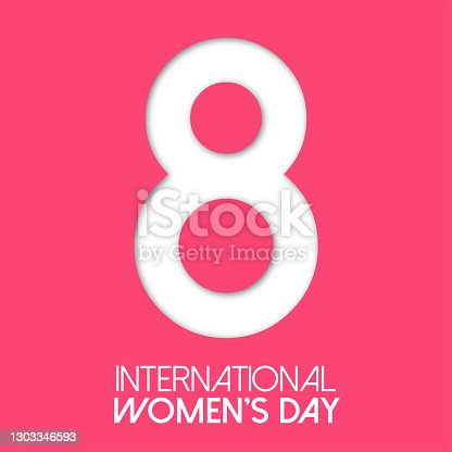 Paper cut out number Eight for 8 March International Women's Day card. Happy Women's Day vector paper cut out number Eight on pink red background. Trendy 3D mothers day greeting card template.