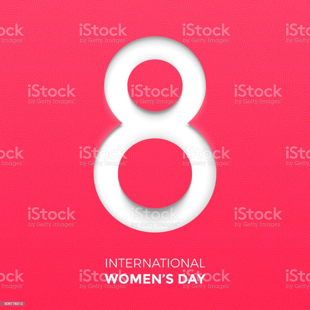 Paper cut out number Eight for 8 March International Women\'s Day...
