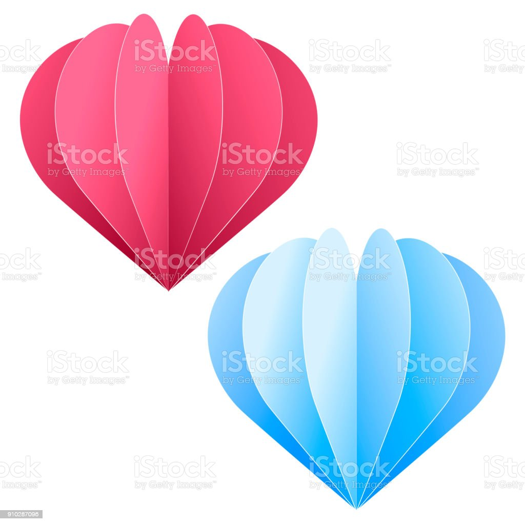 Paper Cut Out Pink And Blue Heart For Valentines Greeting Card