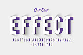 Paper cut out effect font design, alphabet letters and numbers vector illustration