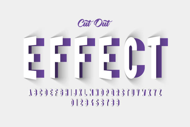 Paper cut out style font Paper cut out effect font design, alphabet letters and numbers vector illustration alphabet designs stock illustrations