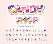 Paper cut out sweet font design. Candy ABC letters and numbers. Glossy 3d alphabet. Vector illustration