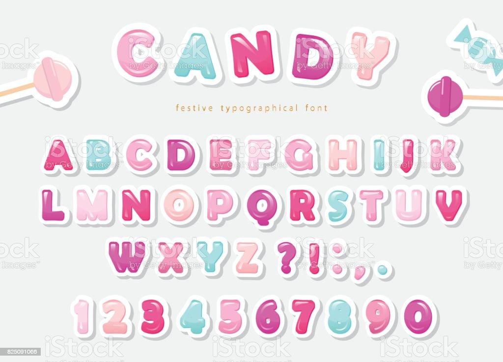 Papier découpé de conception douce polices. Candy ABC lettres et chiffres. Pastel Rose et bleu. - Illustration vectorielle