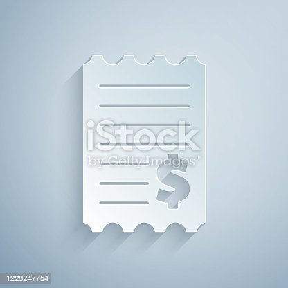 Paper cut Paper check and financial check icon isolated on grey background. Paper print check, shop receipt or bill. Paper art style. Vector Illustration